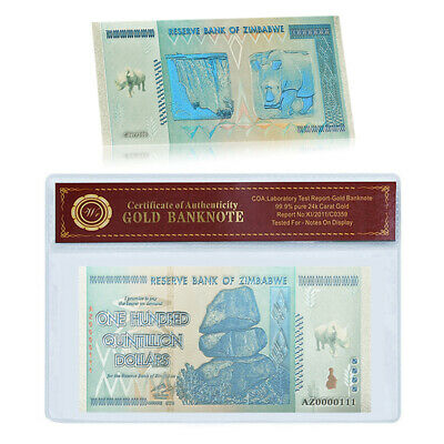 WR Rhinoceros Zimbabwe 100 Quintillion Dollars Color Silver Banknotes In Sleeve