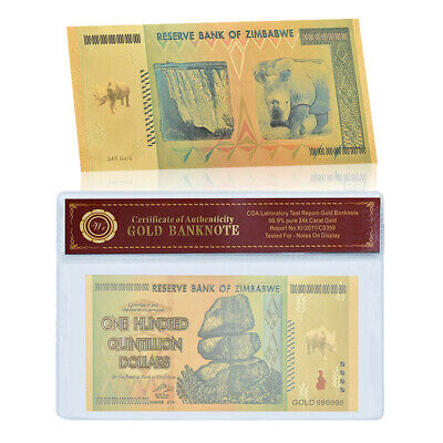 WR Gold Foil Zimbabwe 100 Quintillion Dollars Banknote For Collection In Sleeve