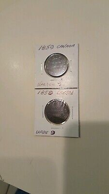 1859 Canada, (2) LARGE Cents, WIDE & Narrow 9
