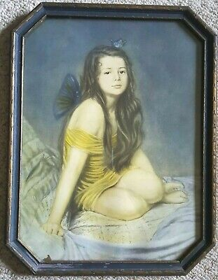 """Butterfly Fairy Girl Framed Antique 1920's """"Psyche"""" by Kendall Art Nouveau"""