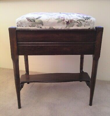 Piano Stool With Storage Fully Refurbished Flower Easy Clean Velvet Seat Elegant