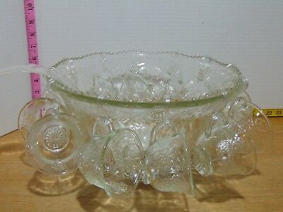 Mid Century Embossed Clear Glass Harvest Grape Leaf Punch Bowl & 12 Cups Set