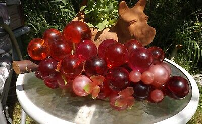 Lucite Acrylic Grapes Grape Cluster Driftwood Red & Pink Mid Century Vintage