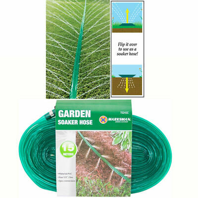 15M Soaker Hose Pipe Garden Drip Irrigation Watering Sprinkler Lawn Plants New