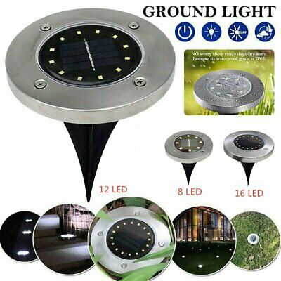 16 LED Solar Disk Lights Ground Buried Garden Lawn Deck Path Outdoor Waterproof