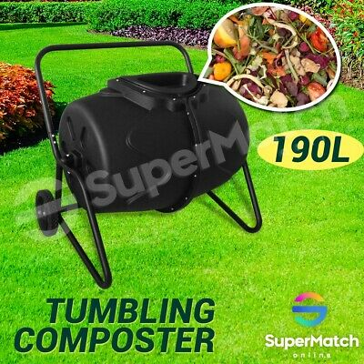 190L Compost Tumbler Aerated Bin Garden Outdoor Composter Recycling Waste Food