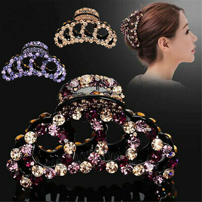 Elegant Rhinestone Large Acrylic Hair Claw Clamp Clip Hairpin Women Accessories