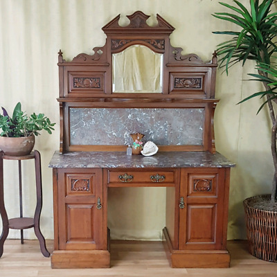 Antique Washstand, Marble Top, Carving, circa 1900.