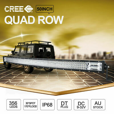 50 inch CREE LED Light Bar Curved Combo Beam Work Driving Lamp Quad Row 4x4s