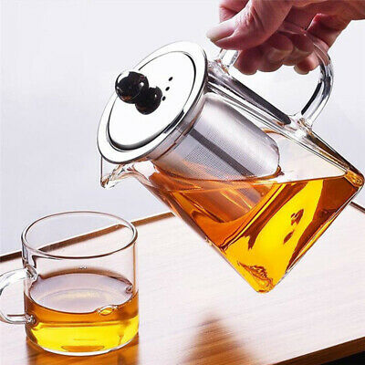 UK Heat Resistant Glass Teapot with Strainer Filter Infuser Tea Pot 4 Sizes