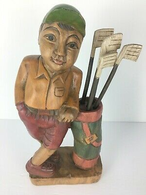 "Hand Carved Teak Wood Golfer Figure w/ Removable Golf Clubs 12"" Tall Unique EUC"