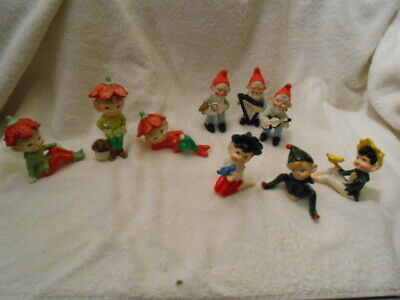 Vintage Porcelain Hand Painted Elves Pixies-Lot of 9 Made Japan & Taiwan
