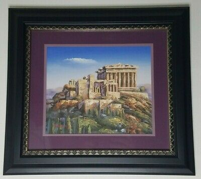 Basilioy Signed Oil Painting Art Architecture Greek Rome Mountain Side Building
