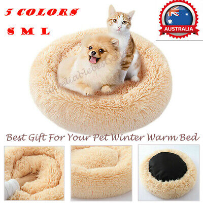 Pet Dog Cat Calming Bed Round Cute Nest Winter Warm Soft Plush Bed for Sleeping
