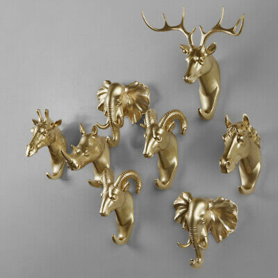 Wall Mounted Deer Head Stags Resin Animal Antlers Art Decoration Home Decor UK