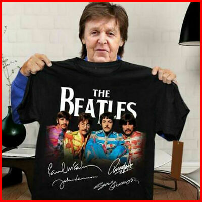 The Beatles T Shirt All Members Signatures Shirt Black Cotton Tee New Free Ship