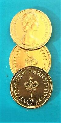Old British New Penny & Half Penny 1971 to 1984 Coins 1/2 penny Gold Plated 24K