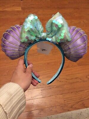 NEW Disney Parks Little Mermaid Shell Ariel Minnie Ears 2019 Sequin Bow