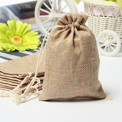 5-100XSmall Burlap Jute Hessian Wedding Favor Gift Candy Bags Drawstring Pouches