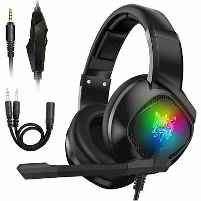 3.5mm K19 Gaming Headset Mic RGB LED Headphones for PC Laptop PS4 Xbox One X S