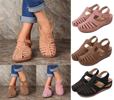 UK Womens Low Heel Gladiator Sandals Ladies Wedge Summer Holiday Beach Shoes 4-7