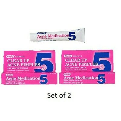 (2 Pack) Rugby Acne Medication Pimples Skin Clear Benzoyl Peroxide 5% 1.5oz Tube