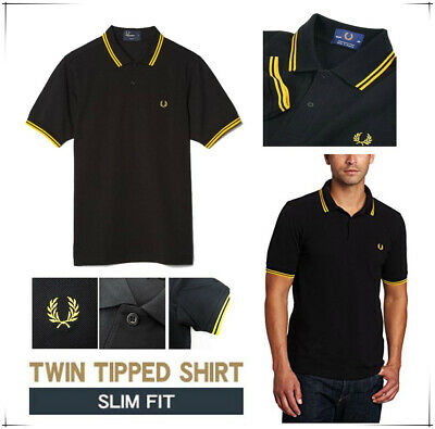 Mens Polo T Shirt Black Yellow Striped Short Cotton Casual Collared Top Designer