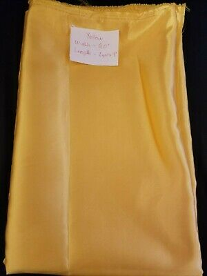"Satin Charmeuse Wedding Bridal Silky Fabric Yellow  60"" X 2 Yards 9"""