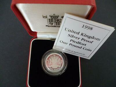 1998 Uk Royal Mint Silver Proof Piedfort Double Thick £1 Coin Cased With Coa.