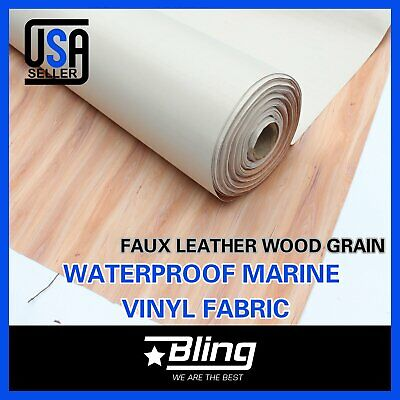 Wood Grain Marine Grade Furniture Replace Vinyl Fabric Upholstery Faux Leather