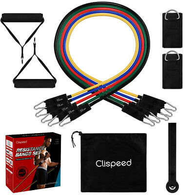 Clispeed 11PCS Resistance Bands for Crossfit Strength Fitness Exercise GYM AU