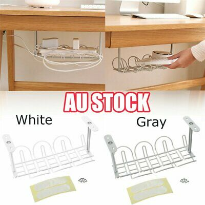 Under Desk Cable Management Tray Storage Organizer Wire Cord Charger Plugs LG