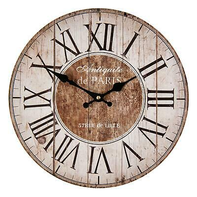 French Shabby Chic Style Rustic Round Wooden Wall Clock Brown Cream Paris France