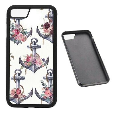 Anchors & Flowers RUBBER phone case Fits iPhone