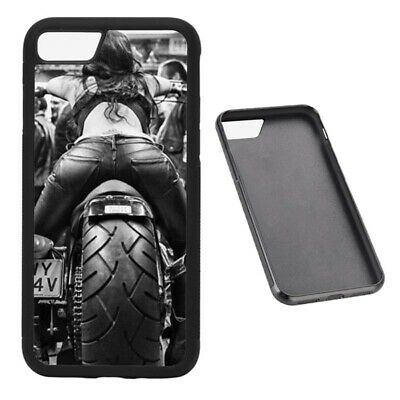 Motorcycle Chick RUBBER phone case Fits iPhone