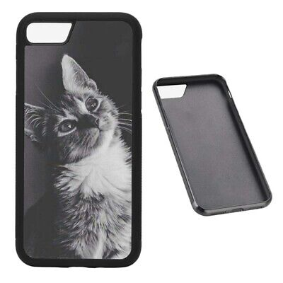 Cute black and white cat RUBBER phone case Fits iPhone