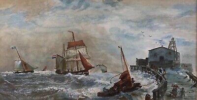 Vessels In Rough Waters, Old / Antique? Watercolour Painting. Gilt Frame