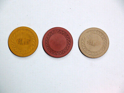 3 casino chips from 1950's Yorkshire illegal casino located in Newport Kentucky