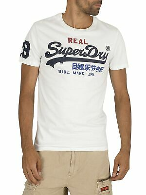 Top Superdry Orange Label da uomo VINTAGE LOGO TEE T Shirt in Bianco Ottico Blu