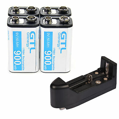 Durable 9V 4pcs 9 Volt 900mAh Power Ni-Mh Rechargeable Battery Cell PPS block