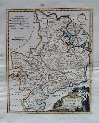 HUNTINGDONSHIRE - Fine Original Hand-Coloured Antique Map by Thomas Kitchin 1780