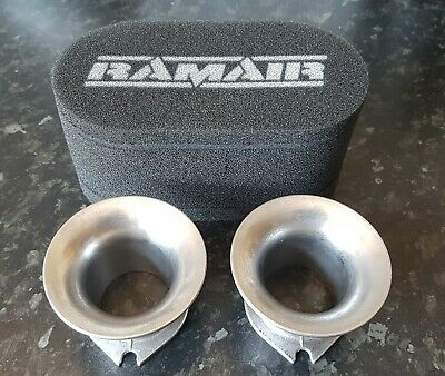 Weber / Dellorto Pair Of 50Mm Trumpets Airhorns And Foam Filter