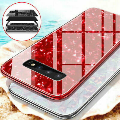 For Samsung Galaxy S10 Plus Luxury Marble Tempered Glass Hard Phone Case Cover