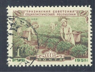 Plants: Women Picking Tea , Georgian Republic, 1951 Russia (USSR), Scott #1589