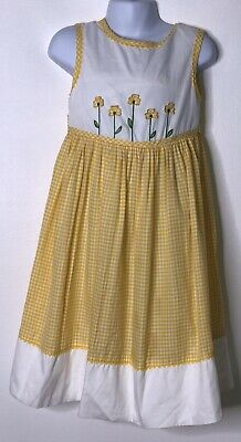 Talbots Kids Girls Yellow White Gingham Flower Appliqué Embroidered Dress Sz 5