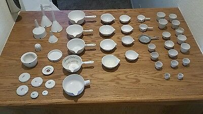 COORS USA Ceramic Filter Strainer Funnel Lab Equipment USA Apothecary HUGE lot!!