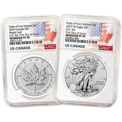 2019 Pride of Two Nations 2pc. Set U.S. Set NGC PF70 FDI Flags Label