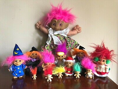 "13 Vintage TROLL DOLL Lot DAM Ace RUSS Toy 17"" TREASURE Stone Keychain 80s 90s"