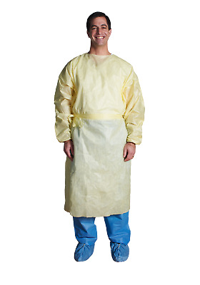 Isolation Gown, Tie Neck & Waist, Yellow w/ Elastic Cuff, Large- ASP Medical