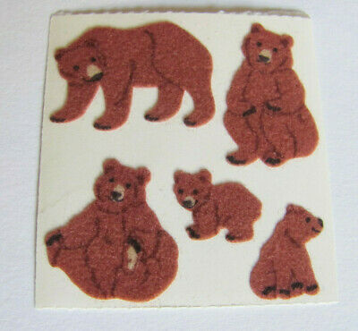 Rare Vintage Sandylion Fuzzy Playful Brown Bears Sticker Mod